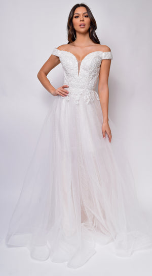 Nicole Sweetheart Neckline A-Line Lace Off Shoulder Layered Tulle Skirt Bridal Gown