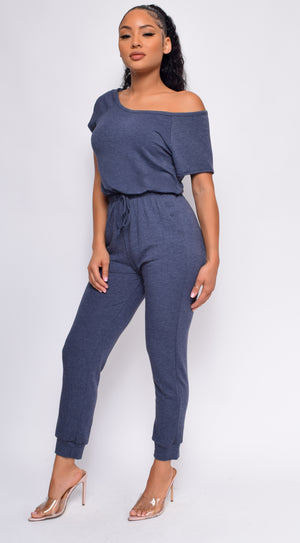 Kendra Navy Blue Off Shoulder Jumpsuit