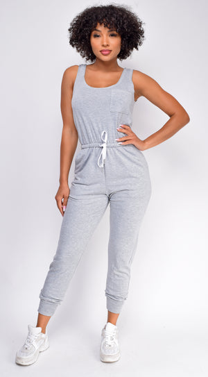 Zaryah Grey Scoop Neck Jumpsuit
