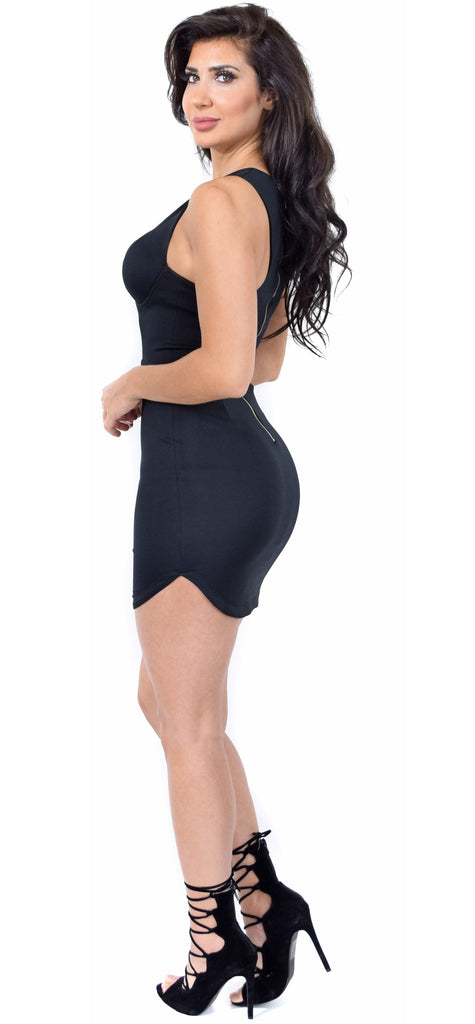 Black Curved Hem Bustier Mini Dress
