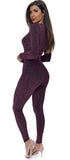 Ranaya Purple Plum Lurex Deep V Belted Jumpsuit