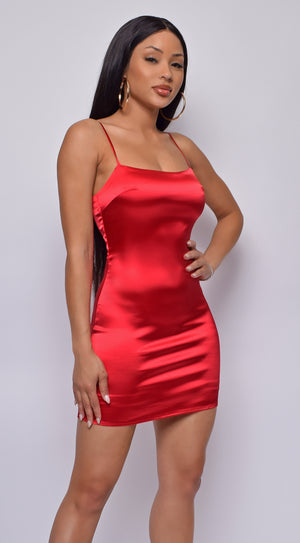 Gigi Red Satin Mini Dress