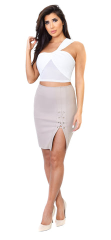 Taupe Side Slit Skirt - Emprada
