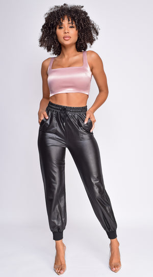 Elia PU Leather Joggers