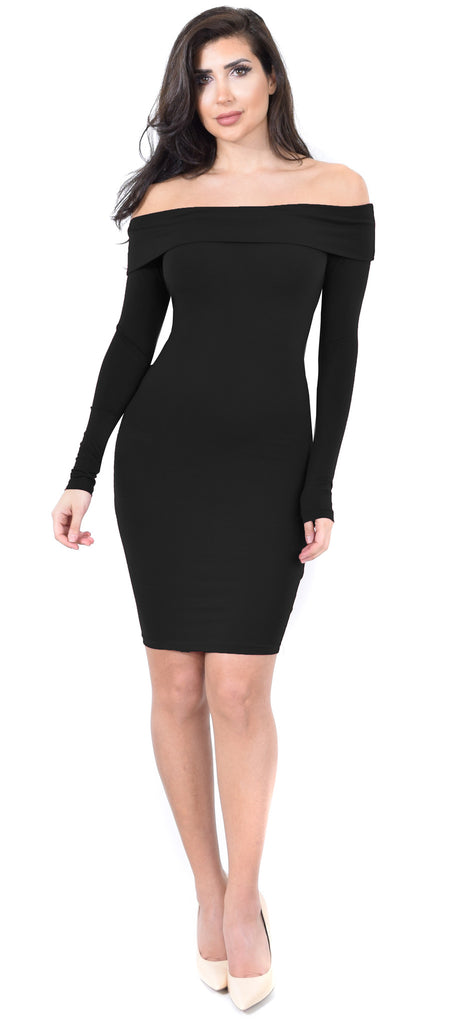 Jenelle Black Off Shoulder Midi Dress - Emprada