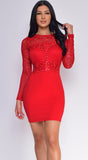 Rosann Red Sequin Lace Long Sleeve Dress
