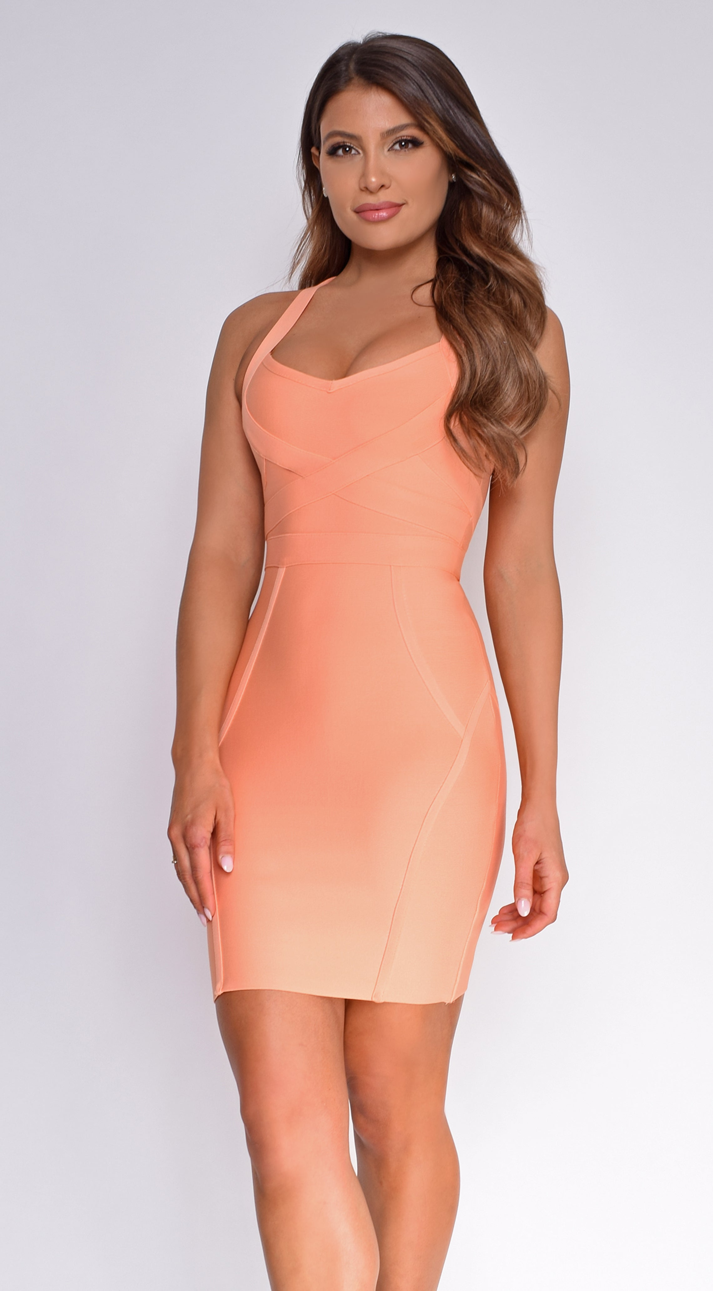 Pez Peach Orange Cross Over Bandage Dress
