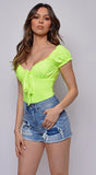 Bad Gal Neon Yellow Off Shoulder Puff Sleeve Bodysuit