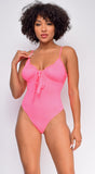 Give Notice Neon Pink Ruched Tie bodysuit