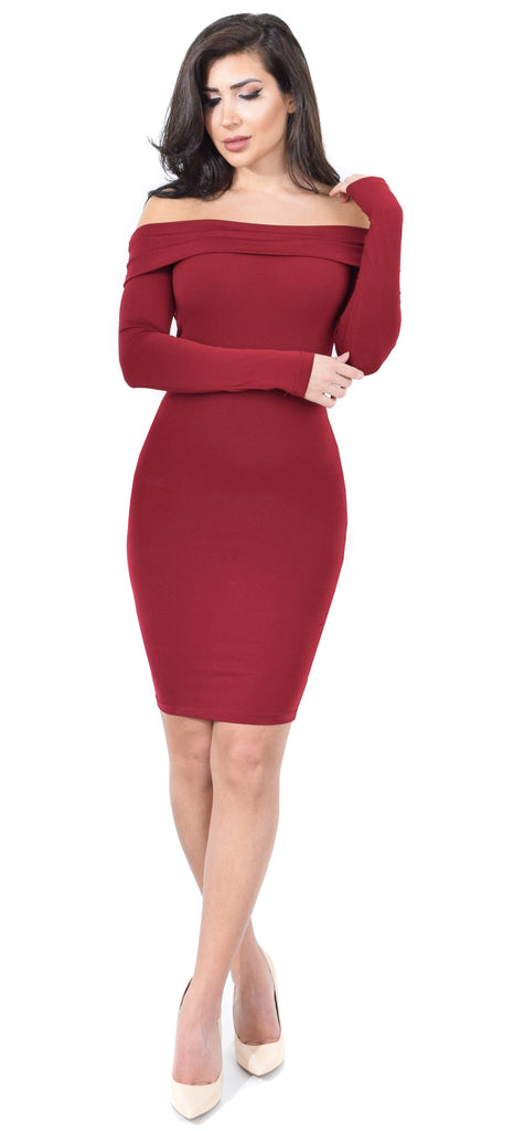Jenelle Burgundy Off Shoulder Midi Dress - Emprada