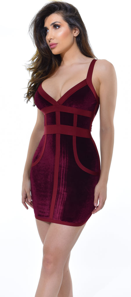 Samaya Burgundy Velvet & Bandage Dress - Emprada