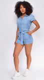 Yacinta Blue Denim Zip Up Front Romper