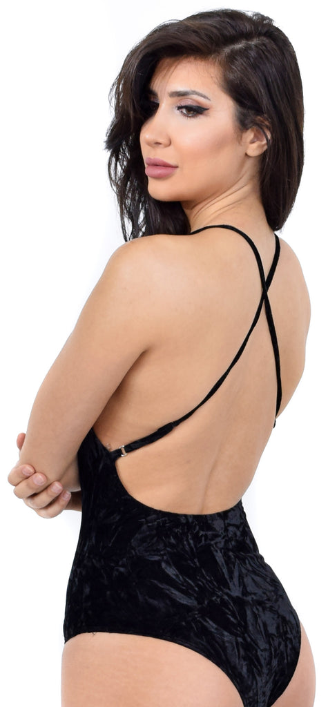 Black Velvet Tank Cross Back Bodysuit - Emprada