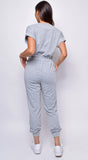 Bondi Grey Short Sleeve V neck Jumpsuit