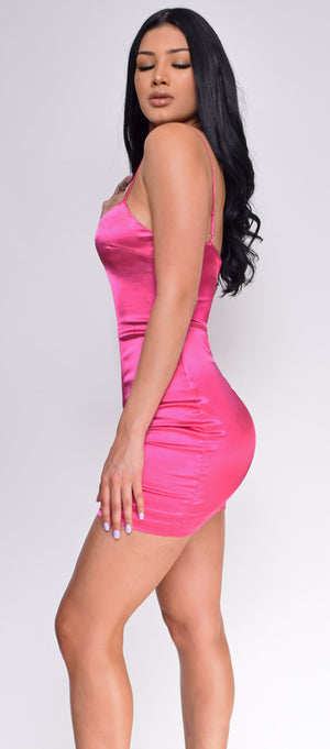 Lyla Pink Satin Mini Dress