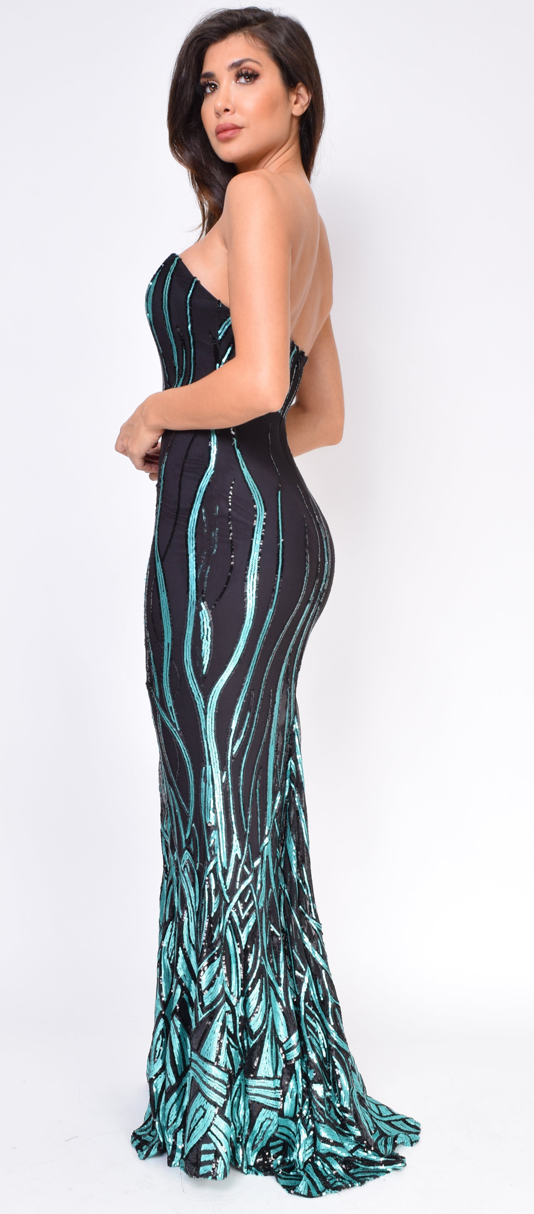 Dalla Black Teal Sequin Gown - Emprada