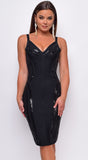 Altana Black Sequin Bandage Midi Dress