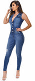 Gisella Denim Button Up Jumpsuit - Emprada