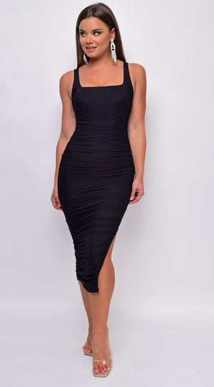 Nezrin Black Square Neck Ruched Side Slit Midi Dress