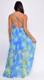 Sari Blue Multi Tie Dye Maxi Dress