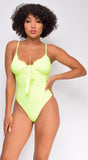 Give Notice Neon Yellow Ruched Tie bodysuit