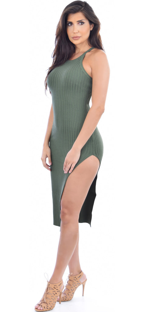 Geonna Olive Ribbed High Slit Dress - Emprada