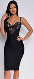 Julia Black Lace Front Bandage Dress