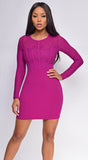 Yessenia Plum Purple Mesh And Lace Long Sleeve Dress