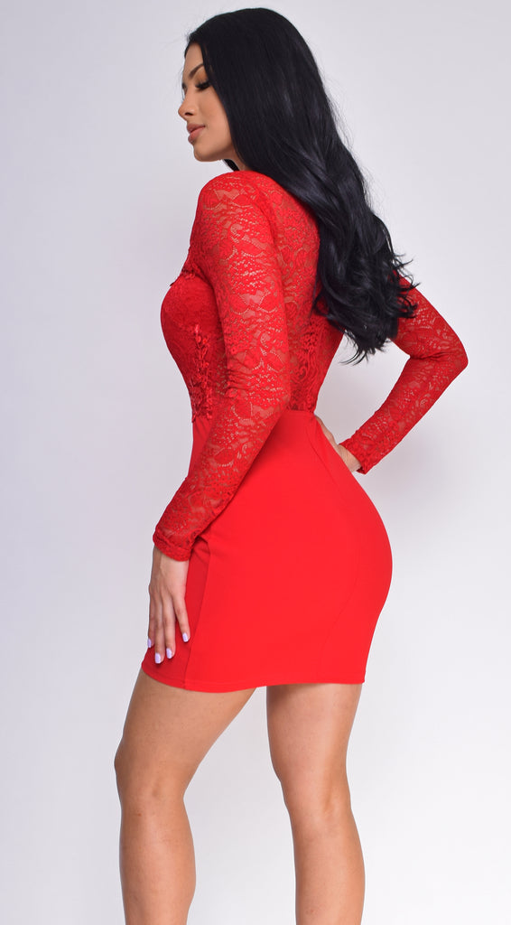 f7ca3843d07 Rosann Red Sequin Lace Long Sleeve Dress