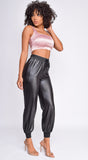 Sasha Mauve Pink Square Neck Satin Crop Top