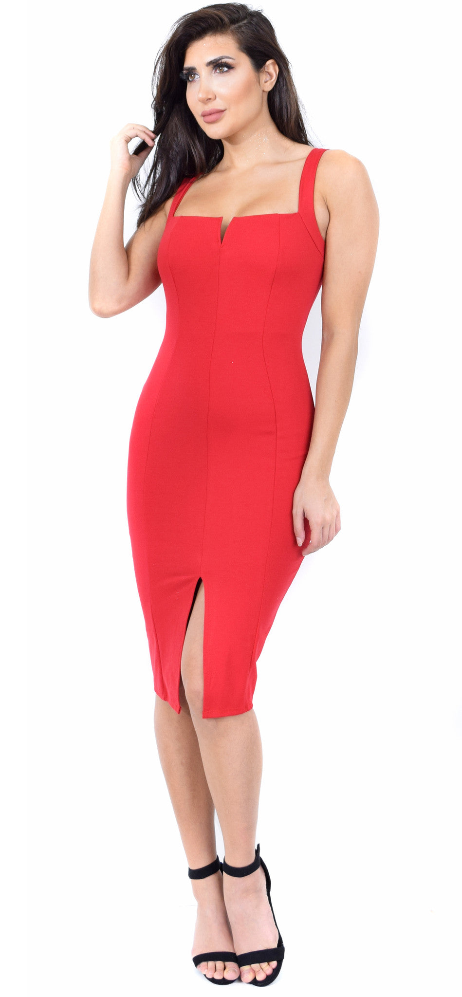 Carla Deep Red Front Slit Dress