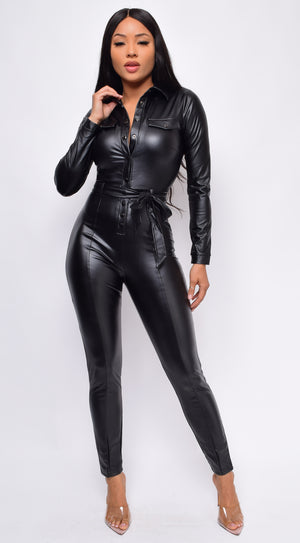 Alva Black Faux Leather Jumpsuit