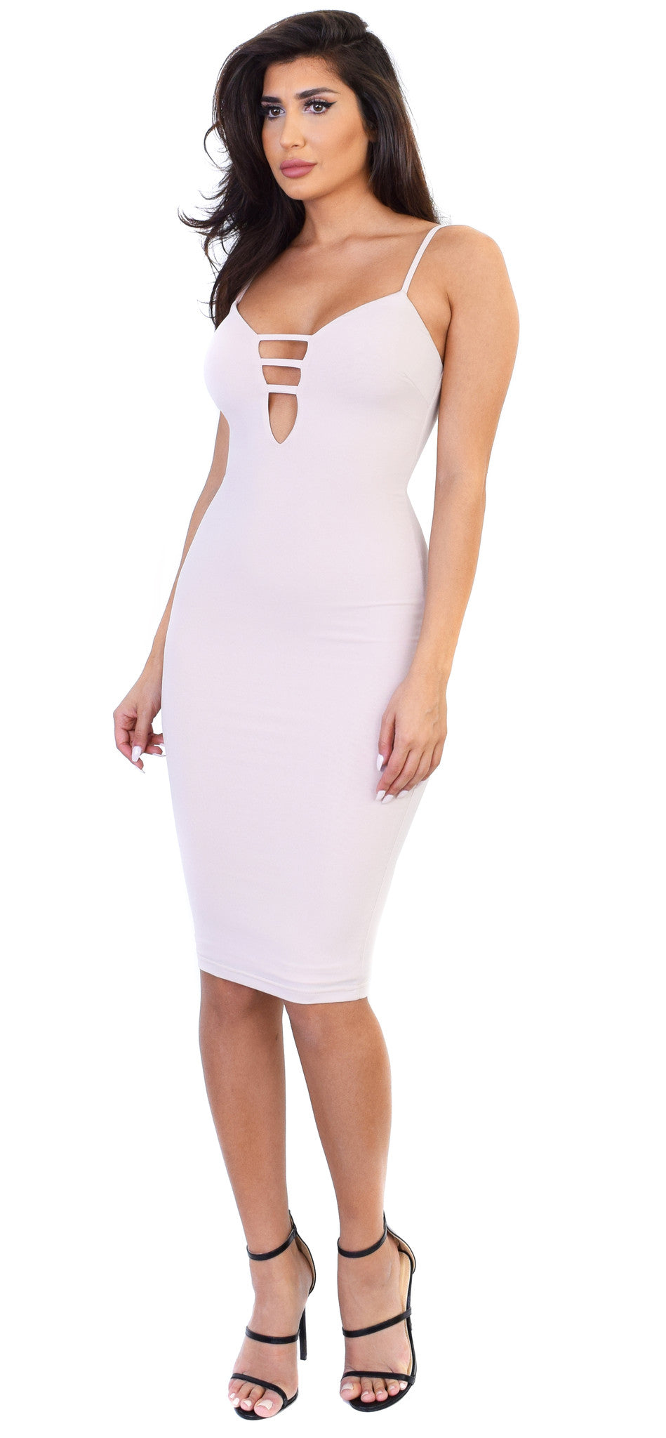 Desyre Nude Midi Dress - Emprada