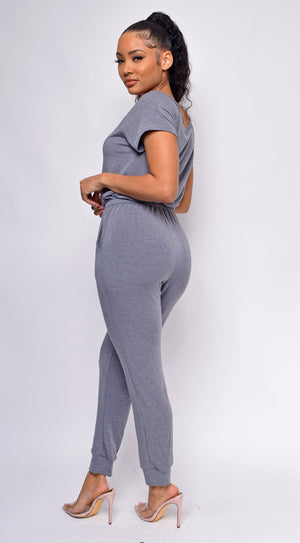 Kendra Grey Off Shoulder Jumpsuit