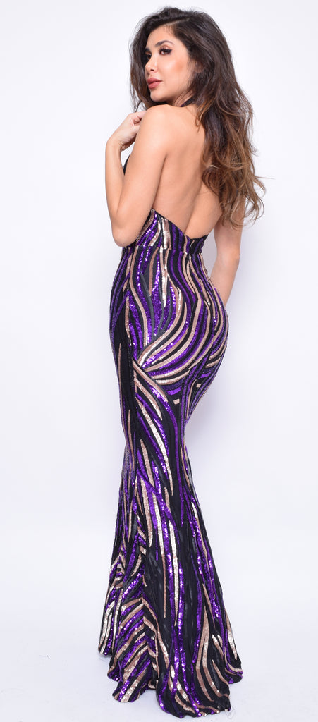 Davina Purple Gold Sequin Gown