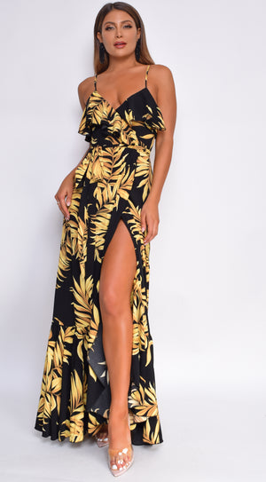 Hanalei Black Yellow Palm Floral Print Maxi Dress