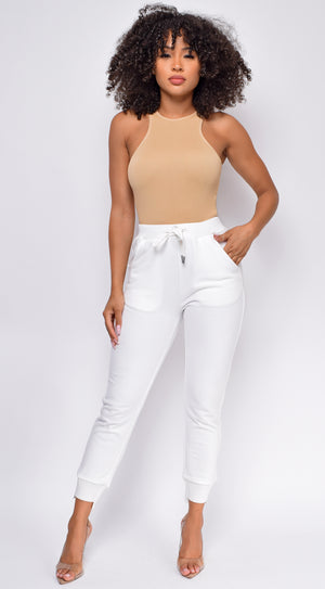 Run the Racerback Nude Beige Ribbed Bodysuit