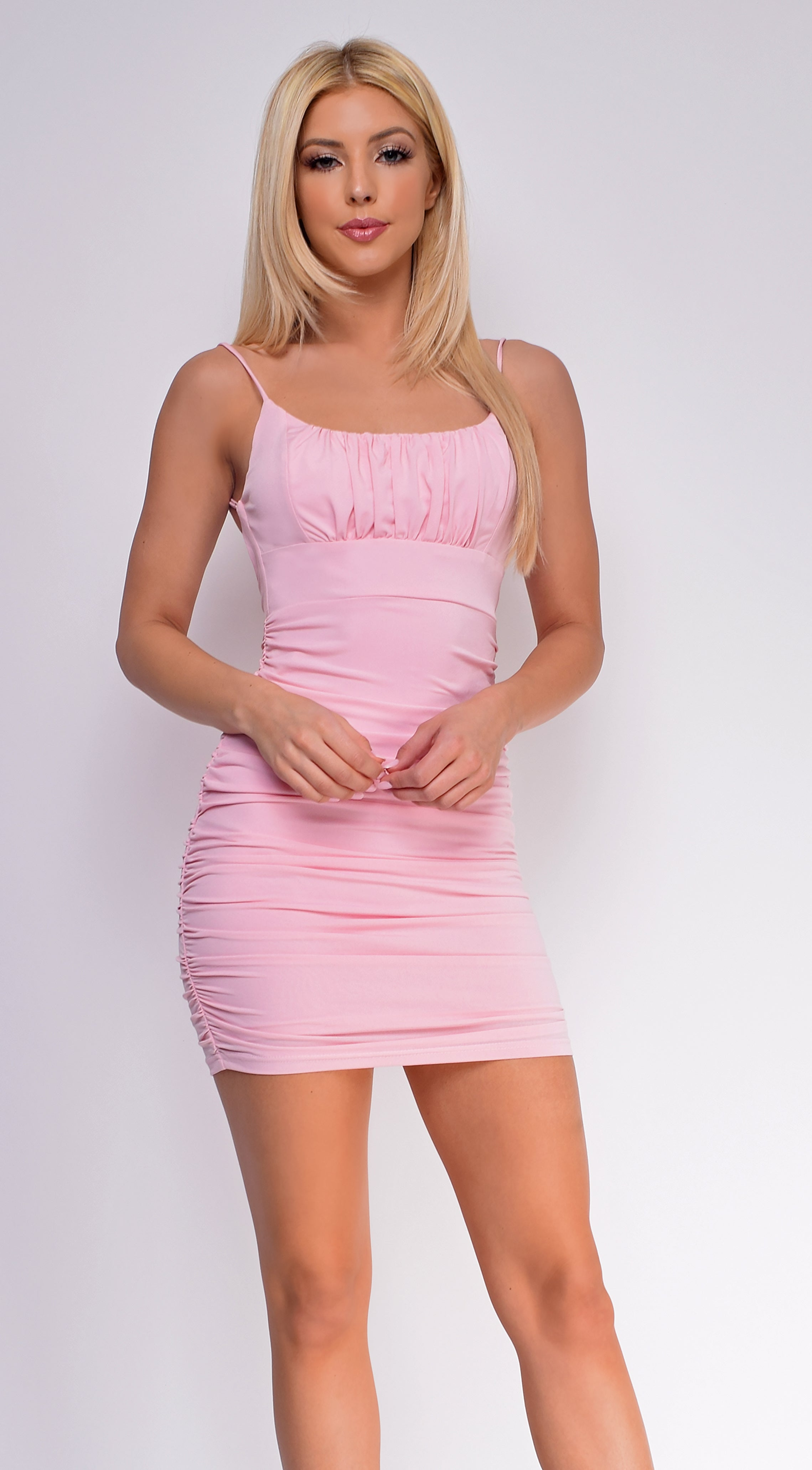 Jaslyn Pink Ruched Dress