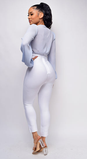 Hara White High Waist Belted Bandage Pants