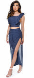 Gavi Navy Boho Print Open Slit Pant & Top Set