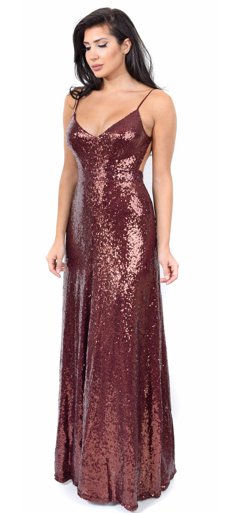 Selene Rust Sequin Gown