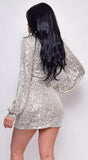 Heavenly Silver Sequin Long Sleeve Mock Neck Belted Mini Dress