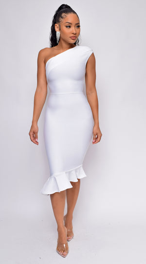 Bostyn White One Shoulder Fluted Bandage Dress