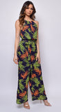 Heather Black Multi Color Halter Tie Front Jumpsuit
