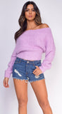 Tahlia Lilac Purple Off Shoulder Sweater Top