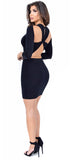 Tanya Black Cut Out Back Mini Dress - Emprada