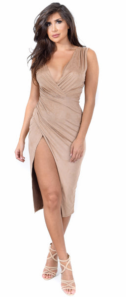 Mocha Faux Suede Wrap Slit Dress - Emprada