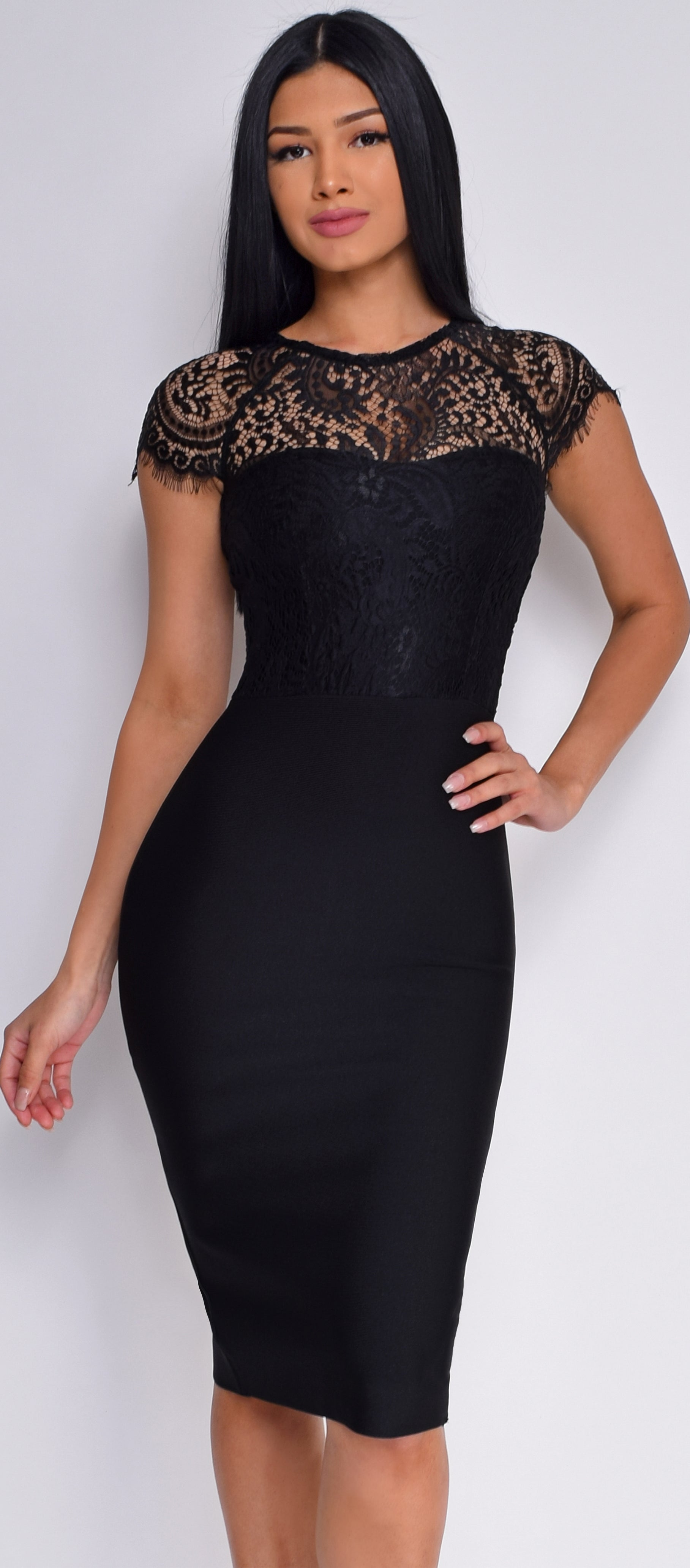 Makenna Black Lace Cap Sleeve Bandage Dress