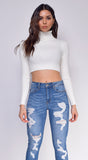 Mia White High Neck Crop Top