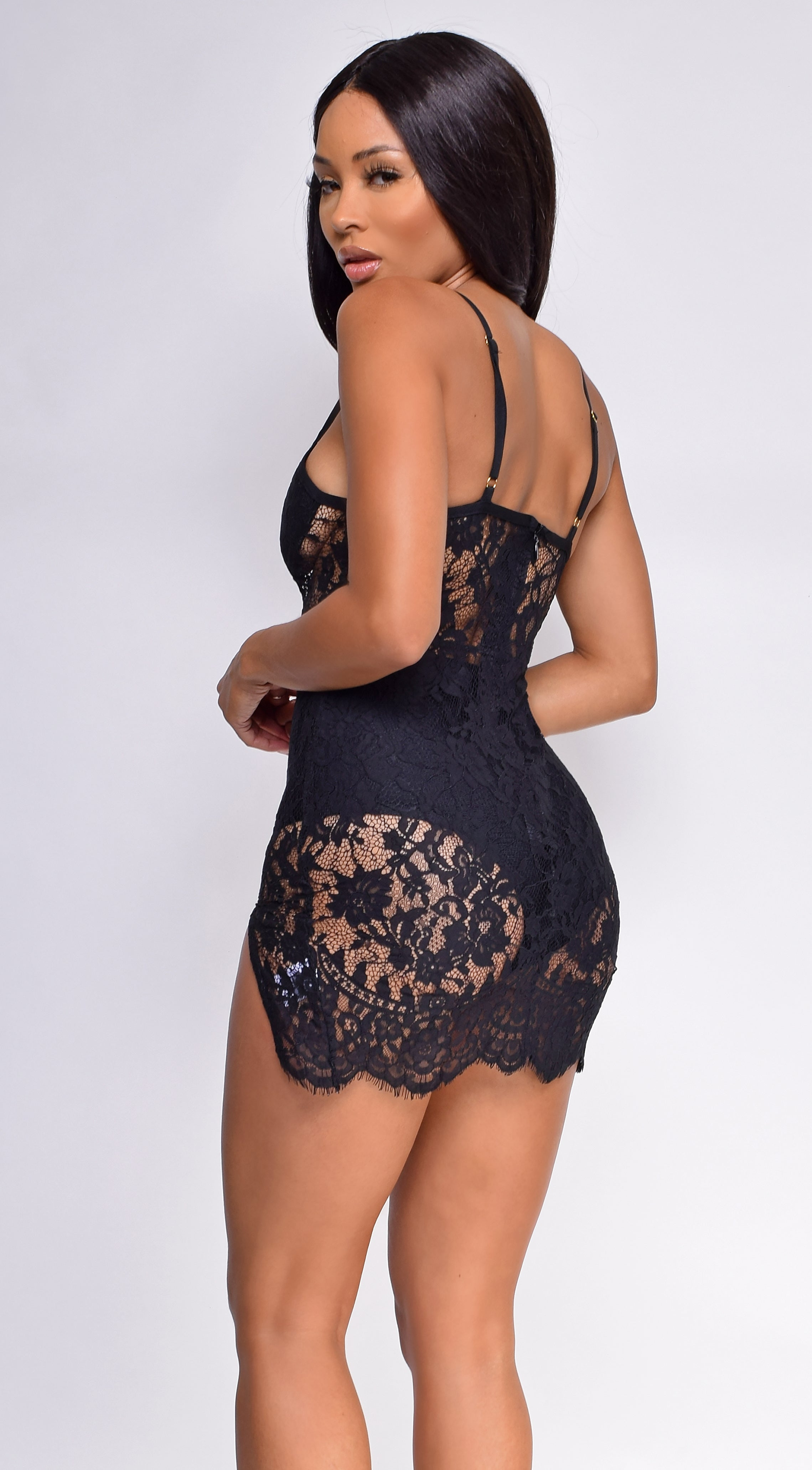 Adonia Black Lace Mesh Bandage Dress